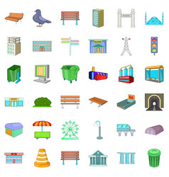 Town icons set cartoon style vector