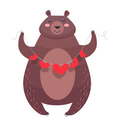 Valentine teddy bear with necklace of hearts vector