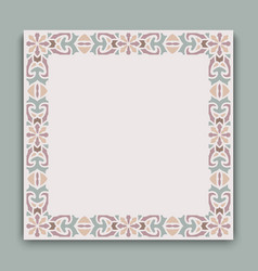 vintage square frame with ornamental pattern vector image