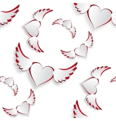 White hearts with wings flying Insulated on white vector