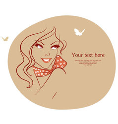 Woman with butterfly vector