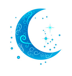 decorative moon on a white background vector image