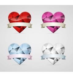 Diamond heart with ribbon set vector image vector image