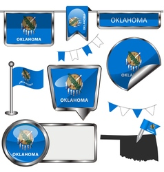 Glossy icons with Oklahoman flag vector image vector image