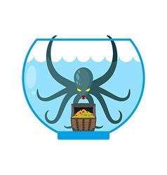 Octopus in aquarium are treasures Miniature kraken vector image vector image