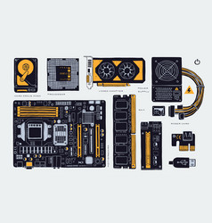 computer accessories parts for cryptomining farm vector image