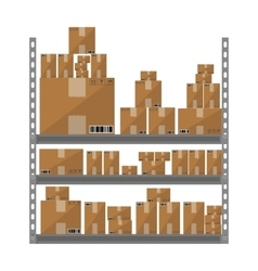 Metallic shelves with cartoon brown boxes part of vector image vector image