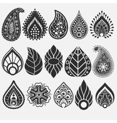 Oriental leaf floral elements set vector image