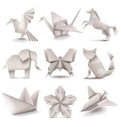 Origami icons set vector image vector image
