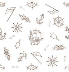 Set of nautical design elements seamless pattern vector image vector image