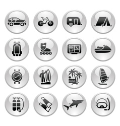 vacation recreation travel icons set vector image vector image