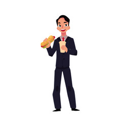 young businessman in business suit eating sandwich vector image vector image