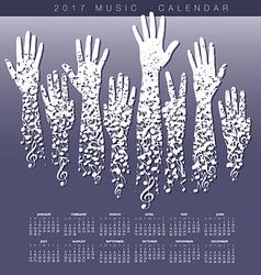 A creative 2017 musical calendar made hands vector image vector image