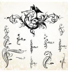 angel swirl ornaments vector image