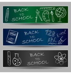 Back to school doodles on banners vector image