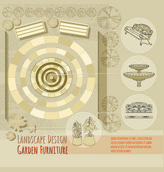 bench fountain railings garden accessory on vector image vector image