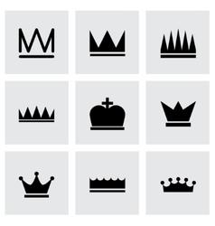 black crown icons set vector image
