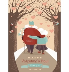 Old couple in love walking vector image vector image