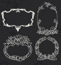 Set of vintage frames design elements vector image