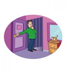 suspicious bedroom vector image vector image