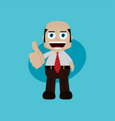 businessman manager at work thumb up cartoon art vector image vector image