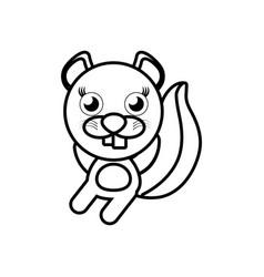 Cartoon beaver animal outline vector
