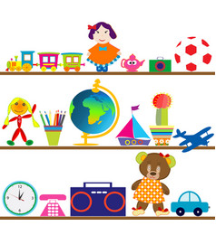 colorful baby toys on shelves vector image vector image