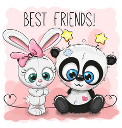 cute panda and rabbit girl vector image