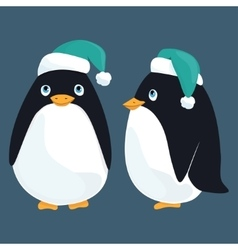 Funny cartoon penguins in the caps from the front vector image vector image