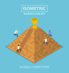 isometric businessman trying to get winner trophy vector image vector image