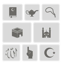 monochrome set with islamic icons vector image vector image