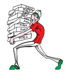 pizza delivery man1 resize vector image vector image