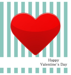 Postcard with red heart and strips vector image vector image