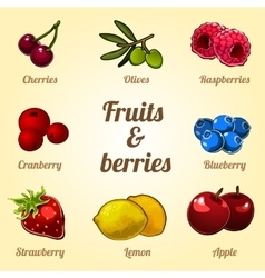 Set of fruits and vegetables 8 different icons vector image