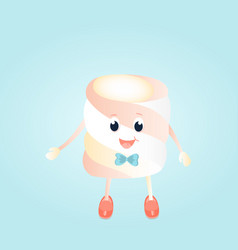 A funny boy marshmallow with bow cartoon character vector