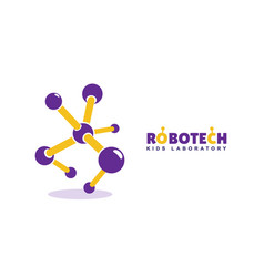 Abstract robotics logo kids development vector