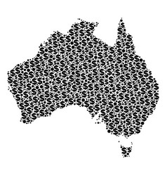 australia map gdp mosaic of dollar and dots vector image