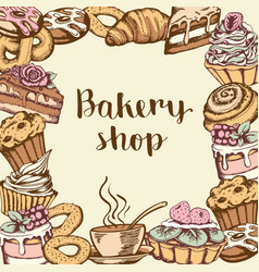 background with bakery products vector image