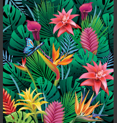 Background with exotic tropical flowers vector