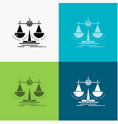 Balance decision justice law scale icon over vector