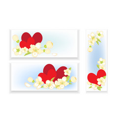 Banners with hearts and flowers vector