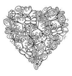 big heart of butterflies for coloring book vector image