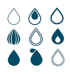 Blue Water Drops Symbols Set Isolated on White vector