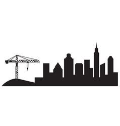 building crane construction and silhouette vector image