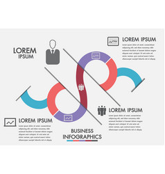 Business process timeline infographics with 3 opt vector