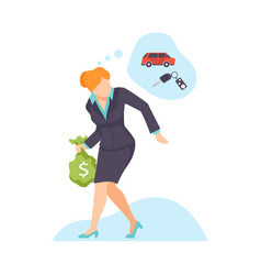 businesswoman steals public money vector image