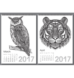 Calendar 2017 Beautiful ornate hand drawn animals vector image