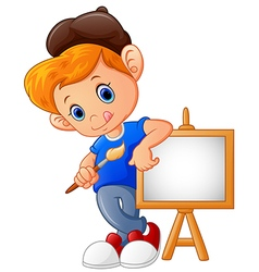 Cartoon boy holding paint brush vector