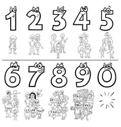 cartoon numbers set coloring book page with kids vector image