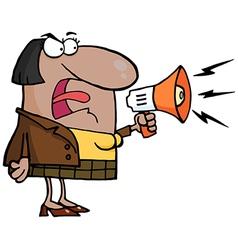 Cartoon teacher with megaphone vector